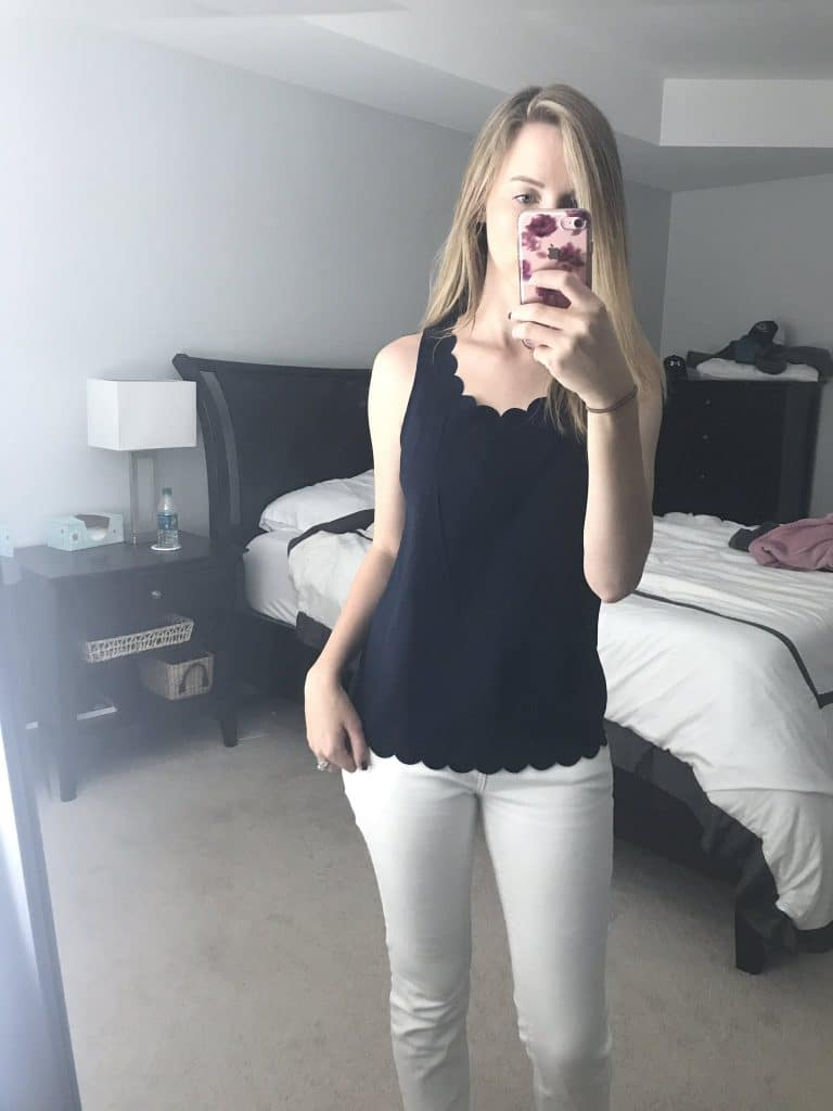 Stitch Fix Experience Navy Scalloped Top